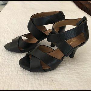 "CLarks Artisan Black Leather Sandals, 2-3/4"" Heel"